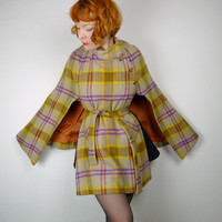 Mustard yellow and heather CHECKED Irish wool cape cloak coat 60s vintage sherlock belted MOD gogo landgirl 40s style WWII country heritage