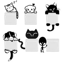 DIY Funny Cute Cat Dog Switch Stickers Wall Stickers