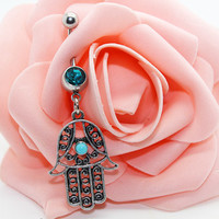 Belly button ring, Hamsa belly ring,Hamsa belly button jewelry,Friendship belly ring