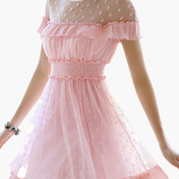 Pink Mesh Accent Ruched Waist Ruffled Mini Dress