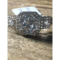 2CT Perfect Round Diamond Cut Halo Russian Lab Diamond Engagement Ring