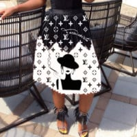 Louis Vuitton LV Newest Fashion Women Letter Print Skirt
