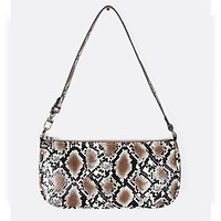 2020 new armpit women's bag design women's bag personality snake print shoulder handbag brown