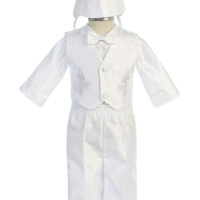 (Sale) Baby Boys Size 3-6 Months Cross & Fish Embroidered Shantung Pants & Vest Baptism Outfit