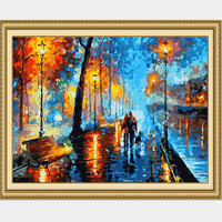 Wooden Frame Scenery Pictures Canvas Painting Wall Art Decor In The Living Walk Lover 40X50cm Diy Oil Painting By Numbers PT037