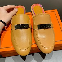 Hermes Fashionable Women Leather Half-Slippers Sandals Shoes Brown