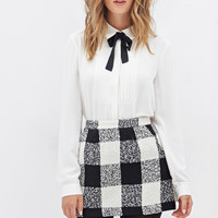 Plaid Bouclé Mini Skirt
