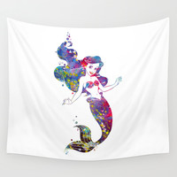 Little Mermaid Watercolor Wall Tapestry by Bitter Moon