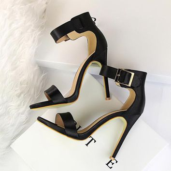 Sally Satin Ankle Strap Dressy Sandals 8 Colors