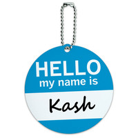 Kash Hello My Name Is Round ID Card Luggage Tag