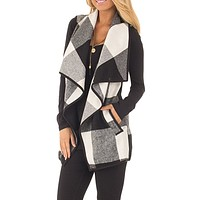 Prairie Waterfall Black and White Buffalo Plaid Cardigan Vest