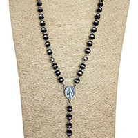 Men Rosary Necklace Stainless Steel Crucifix Pendant & Vintage Chain 8mm Black Bead Gn543s