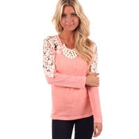 Coral Crochet Lace Accent Sleeve