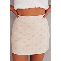 Forever Starts Tonight Star Printed Skirt (Beige)