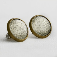 Silver Tinsel Earrings in Antique Bronze - Silver Sparkly Glitter Studs