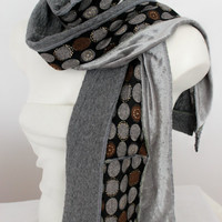 Gray scarf, Gray Unique Scarf, Gray extra long shawl, Gray velvet scarf, Gray black scarf, Gray winter scarf, Christmas gift, Unisex scarf