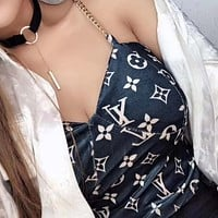 Louis Vuitton LV Letter chain small sling wrapped chest small vest sexy outer wear short bottoming shirt