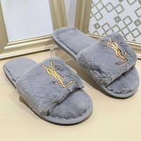 YSL New Autumn And Winter Furry Slippers Female Home Bright Diamond Flat-bottom Slippers Slippers Shoes