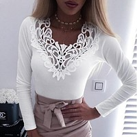 fhotwinter19 women's new hot sale lace flower long sleeve bottoming shirt