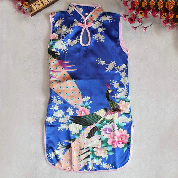Image of Multi-Colors Chinese Qipao Baby Girl Kids Floral Peacock Cheongsam Dress Clothes UBY