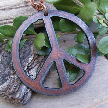 Peace Sign Necklace, Large Rusted Iron Peace Sign Pendant, Copper Chain, Rustic, Western, Southwest Style, Statement, Hippie, Awesome Gift