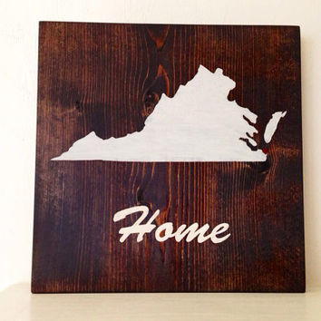 Customizable Virginia Wood Sign, Stained and Hand Painted, Personalized, moving gift, wedding gift, birthday, graduation, home decor