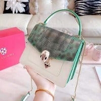 Bvlgari fashion casual lady leopard print colouring snake head buckle hand bill of lading shoulder bag
