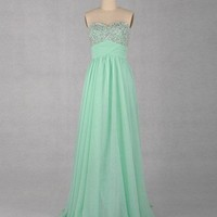 Gorgeous A-line Sweetheart Sleeveless Floor-length Chiffon Prom Dress with stunning Beadings