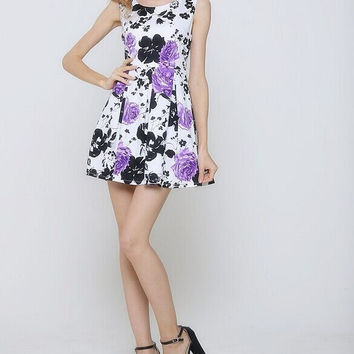 Free Shipping 2015 New Women Celebrity Party Dress Sexy Sleeveless Floral Print Casual vestidos