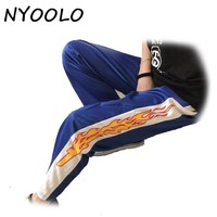 NYOOLO Korea design novelty flame Print Harajuku loose casual Straight pants women and men elastic waist hip hop pants