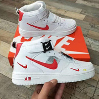 Onewel NIKE AIR FORCE 1 Classic Sneakers High tops Low tops Sports Shoes White Red