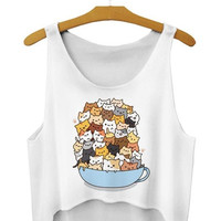 Summer So Many Cats In Cup 3D Print Tank Tops Crop Top Harajuku Women Tops Fashion Camis sexy = 1956708484
