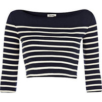 Blue and white placement stripe crop top - crop t-shirts - t shirts / tanks / sweats - women