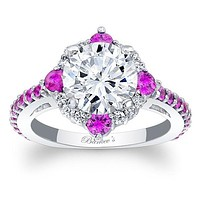 Barkev's Pink Sapphire Compass Halo Diamond Engagement Ring
