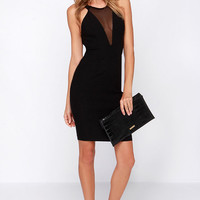 Around We Go Black Cutout Halter Dress