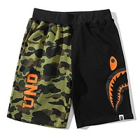 Bape Aape & Undefeated New fashion letter shark print camouflage shorts