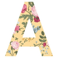 Summer Flowers Patterned Letter Wall Decal