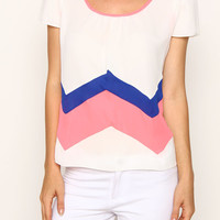 Chevron Colorblock Top