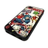 Apple iPhone 5C 5 C Case Cover Avengers Comic Book Retro DESIGN BLACK RUBBER SILICONE Teen Gift Vintage Hipster Fashion Design Art Print Cell Phone Accessories