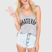 Whatever! Crop Top - Grey