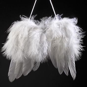 Mini Angel White Feather Wing Wedding Decoration Christmas Tree Hanging Ornament