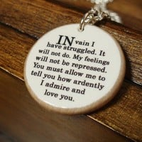 Mr Darcy In Vain I Have Struggled Quote Necklace by BookishCharm