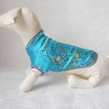 Dog Blue Costumes  Pet Clothing Oriental Tang Style Silk Satin Dress Coats M Size ready to  ship