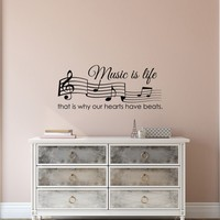 Music Wall Decal - Music Is Life That Is Why Our Hearts Have Beats Quote- Music Note Treble Clef Decal Bedroom Wall Art Home Decor Q217