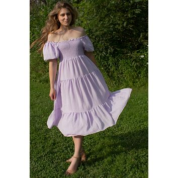 Orchid Tiered Midi Dress with Puff Sleeves