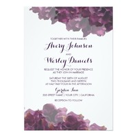 Purple Floral Wedding Invitation