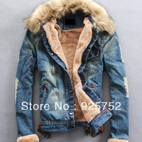 2014 New Winter Men'S Jeans Jacket High Quality Fur Collar Wool Denim Casual Jacket With Thick Coat Size XXL XXXL