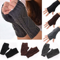 Unisex Men Women Arm Warmer Fingerless Knitted Long Gloves Cute Mittens