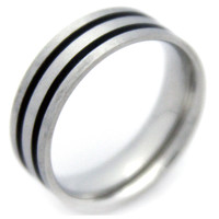 Men Black Stripe Stainless Steel Ring -Size
