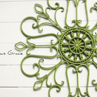 Gift Idea / Wall Decor / Metal Wall Scroll / Outdoor Decor / Wall Medallion / Green Decor / Indoor Scroll / Wall Hanging / Customize Colors